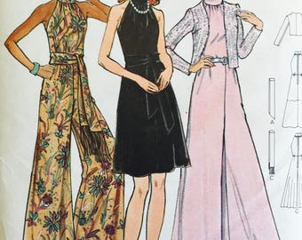 Butterick 6888 - size 14 - Bust 36 - 1970s Pattern - Evening Dress - Long or Short - Wide Leg Jumpsuit -  Standing collar Halter top