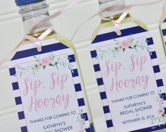 Bridal Shower Favor Tags, Mini Wine Bottles, Mini Champagne Tags, Sip Sip Hooray Tags, Personalized Favor Tags, Navy Blue & Pink - Set of 12