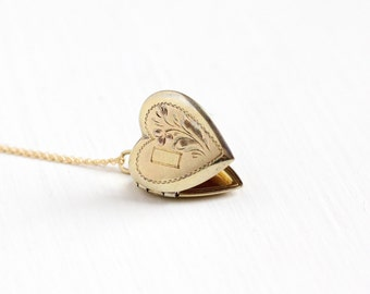 Vintage Gold Filled Over Sterling Heart Locket Necklace - Late Art Deco 1930s 1940s Sweetheart Pendant Romantic Flower ALLCO Jewelry