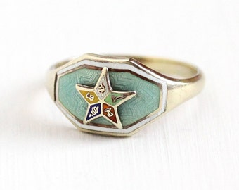 Sale - Vintage 10k Yellow Gold Order of the Eastern Star Ring - Art Deco Size 5 1/4 OES Guilloche Teal Green White Enamel Mason Fine Jewelry