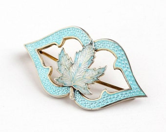 Sale - Vintage Sterling Silver Guilloche Enamel Maple Leaf Brooch - 1910s Edwardian Baby Blue White Canadian Symbol Pin Signed HC Hemming Co
