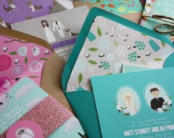 Invite Card (Profiles), RSVP, & Map / Reception Card : Custom Illustrated Wedding Invitations, Design Fee