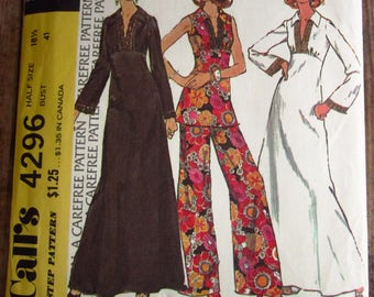 Vintage 1970s Womens Half-Size High Waisted Dress or Sleeveless Top and Pants Size 18-1/2 McCalls Carefree Pattern 4296 UNCUT