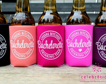 Bachelorette Party Can Coolers, Cheers Bitches, Future Mrs., Bachelorette Drinking Team, Bachelorette Party Favors, 11 colors