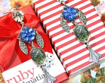Vintage bluebell intaglio swarovski crystal pressed glass long dangle earrings