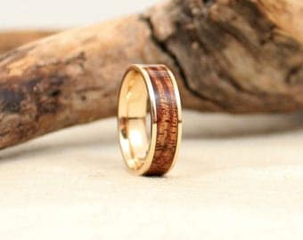 Hawaiian Koa Gold and Wood Ring