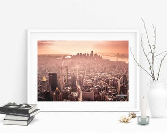NYC Photography, Skyline at Sunset, View from Empire State Building Home Decor, Dark Orange Home Decor, Burnt Orange, Office Decor