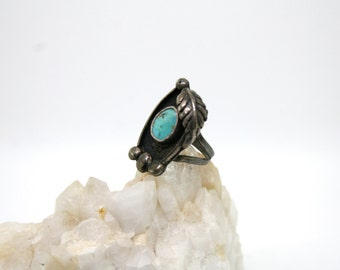 SALE Turquoise Leaf Ring 5.5