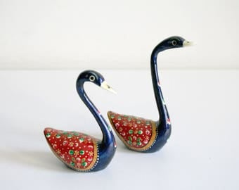 Hand Painted Indian Brass Swans