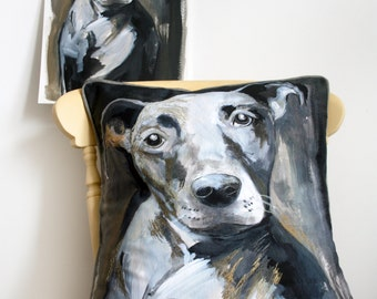 Painted Dog Portrait Cushion