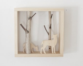 natural white birch forest wall art with a doe with a fawn - birch branch, wall hanging, framed birch art, nursery decor, kids wall decor