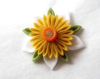 Cute Kanzashi Flower Hair Clip Yellow Orange and Green Wearable Fiber Art Barrette