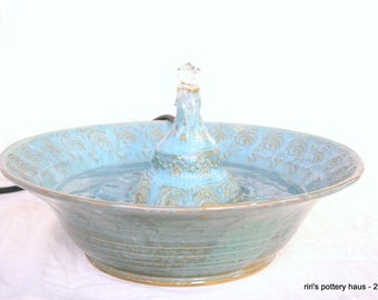 Custom medium stoneware tabletop fountain, for your home, your spa, or your cat! Excellent bird bath, garden centerpiece, or meditation aid!