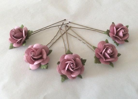 Hairpins x 5 Paper Roses. Dusky Pink. Bridal, Regency, Victorian.