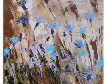 Cornflowers - cornflowers original painting contemporary impressionistic blue flowers painting canvas art abstract flowers wild flowers