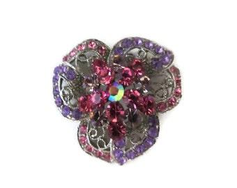 pink purple rhinestone brooch, flower, silver tone, vintage, ab rhinestone, wedding bouquet, wedding bridal