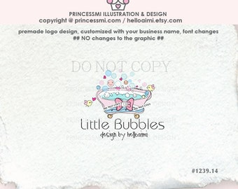 1239-14 bathtub logo, soap logo, custom bubbles logo, handmade soap logo, spa logo, beauty spa logo, watermark, business card, bubbles
