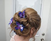 Wedding hair accessories Blue purple dendrobium orchid bobby pins set of 4 Bridal hair flowers