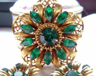 Green Rhinestone Brooch and Earrings