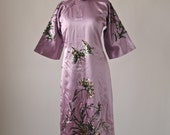 Reserved for A--Pink Satin Asian Cheongsam Dress with Sequin Lotus Embroidery Size Small