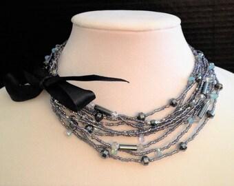 Charcoal Crystals - Versatile 2-way Necklace