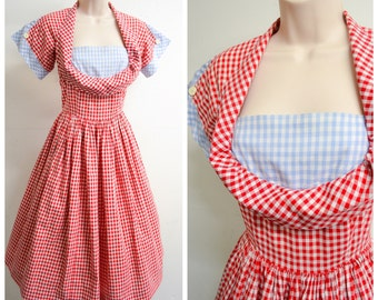 1950s Red & blue gingham check cotton day dress / 50s checked crumb catcher full skirt summer dress - XS