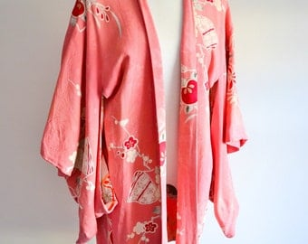 SALE 1930s 40s Pink printed & painted pink red rayon haori kimono jacket / 1940s 30s Japanese crepe wrap top
