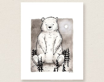 The Bear who sat on a Forest - Ink Illustration Art Print
