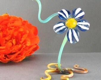 Glass Flower Sculpture, Caribbean Blue, Lampwork Botanical Nature Art Glass, Boro Garden Design