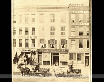Civil War Era Detroit Storefront CDV w Signs & Advertising and Watson Daguerreotype Studio