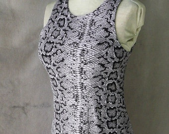 Vintage Betsy Johnson Pincess Seamed Tank Dress in Snakeskin Print