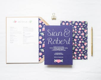 Rhiannon - Navy & Floral Wedding Invitation | Floral Hand Lettered Wedding Stationery | Customisable Wedding Invites