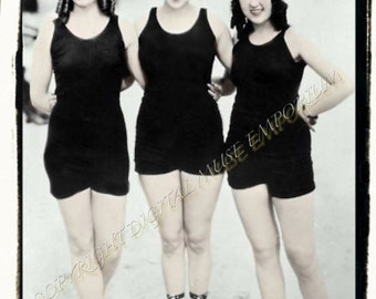 Instant Download Vintage Photograph  Trio of Bathing Beauties