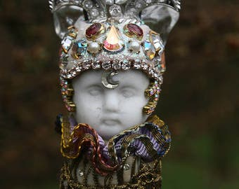 Altered Art Ornament Sprite Crystal Prism Assemblage Doll Ice Ornament Suncatcher Chandelier Doll Home Decor Royal Series Pink Tourmaline