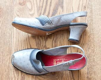 vintage 1940s gray ostrich peep toe pumps / 40s Heydeys slingback peep toe sandal heels / 7 AA