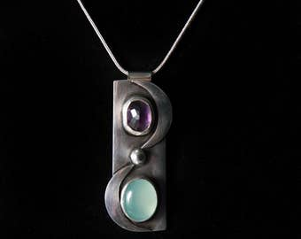 sterling silver pendant with amethyst and aqua chalcedony