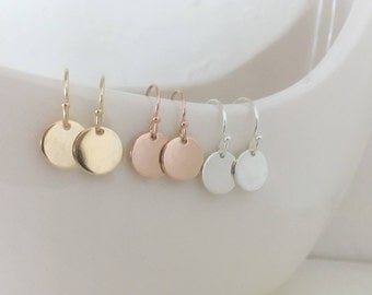 Disc earrings, dangle earrings, circle earrings, gold coin, silver or gold, everyday, bridal, gift for her, sister, trending, celebrity