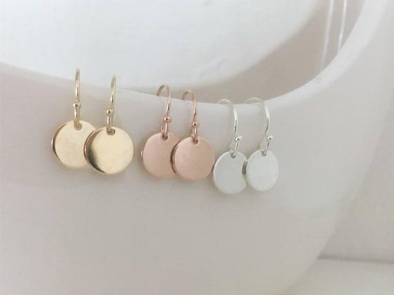 Disc earrings, dangle earrings, circle earrings, gold coin, silver or gold, everyday, bridal, gift for her, sister, trending, celebrity