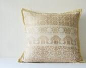 Natural Beige Woven Peace Silk Pillow Cover, Ahimsa Silk  Pillow Cover in Jacquard Weaving, Beige Decorative Pillow Cover, Silk Throw Pillow