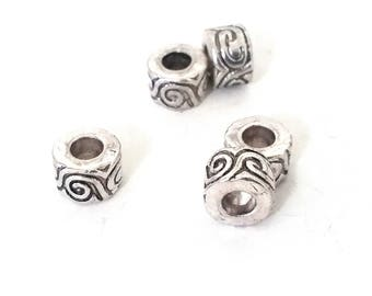 Large Hole Barrel Beads, Aztec Swirl Design, Antique Silver Metal, 10x6mm, 5mm Hole, Lead Free, Nickel Free, Lot Size 10 to 30, #1581 BH