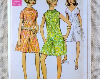 Vintage sewing pattern Simplicity 7471 jumpsuit Culottes 1960s bell bottoms sleeveless short sleeves Bust 32.5 1967 Romper pant dress
