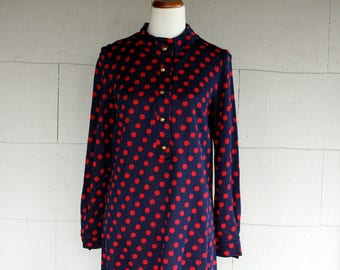 Vintage Dress / 60s Polka Dot Shirt Dress /Navy Blue and Red / Small / Free Shipping in USA