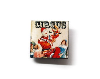 Vintage Circus Wooden Brooch Pin ON SALE