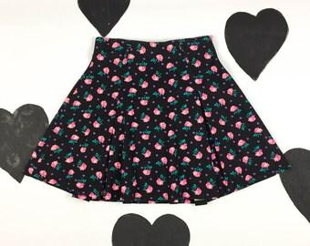 90's 80's black pink purple flared mini skirt 1990's girly cotton rose floral high waisted short Aline skater skirt / belt loops / LA babe M