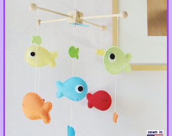Baby Mobile, Nursery Decor, Under the Sea Mobile, Fish Mobile, Colorful Goldfish Mobile, Neutral Mobile, Custom Mobile