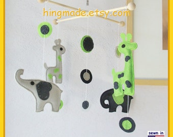 Baby Mobile, Baby Crib Mobile, Giraffe and Elephant Mobile, Baby Boy Mobile, Lime Green Navy Blue Gray, Match Bedding Mobile