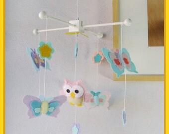 Baby Crib Mobile, Baby Girl Nursery, Owl and Butterflies Mobile, Aqua Blue Pink Purple Nursery, Match Nursery Bedding
