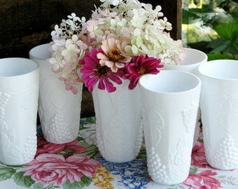 Vintage Milk Glass Tumblers by Indiana Glass / My Vintage Autumn Milk Glass Wedding/ Milk Glass Centerpiece