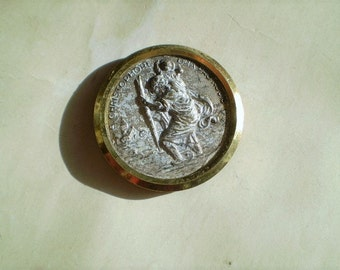 St. Christopher - Vintage Round Magnet - S. Christophore Ora Pro Nobis - Metal - Catholic - Holy Charm