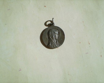 Our Lady of Lourdes - Vintage Medal or Pendant - Round - Silver Metal - Virgin Mary - Catholic - OBC - Holy Charm